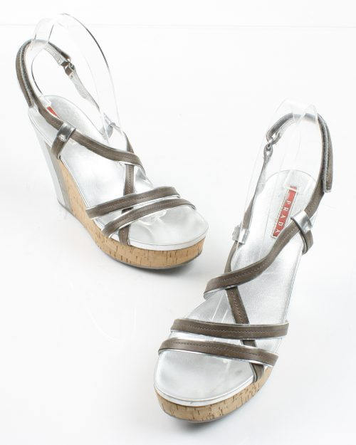 Prada, Silver Strappy Wedge-Size 37.5-4525