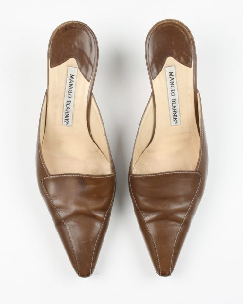 Manolo Blahnik, Brown Leather Mule-Size 38-4457