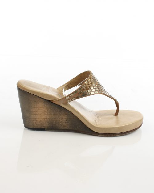 Calleen Cordero, Leather and Silver Wedge-Size 7-4533