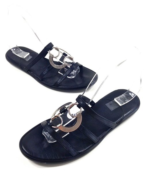 Hogan, Black and Silver Slide-Size 37-3638