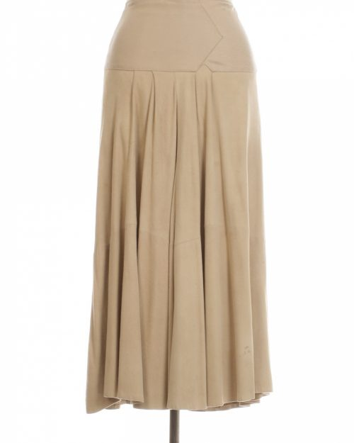 Liz Roberts Robert Elliot for Natural Comfort New York, Cream and Pink Suede Skirt - Size 8-4723