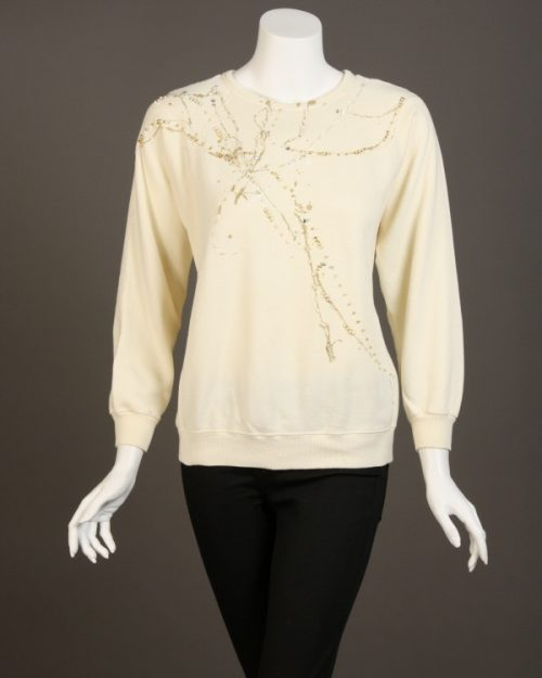 Linda Bertozzi, Cream Sweatshirt with Gold and White Beading-4747