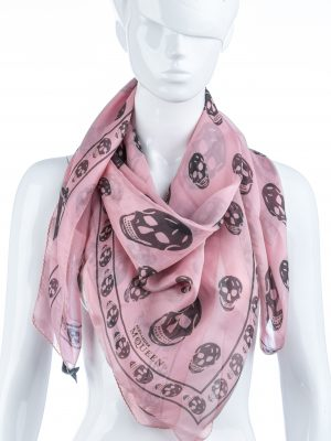 Linda-Bertozzi-palm springs-vintage-clothes-fashion-luxury-consignment-clothes-Alexander Mcqueen pink silk skull scarf